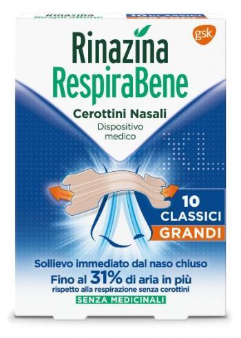 RESPIRABENE 10 cerotti nasali grandi per adulti, pelli normali